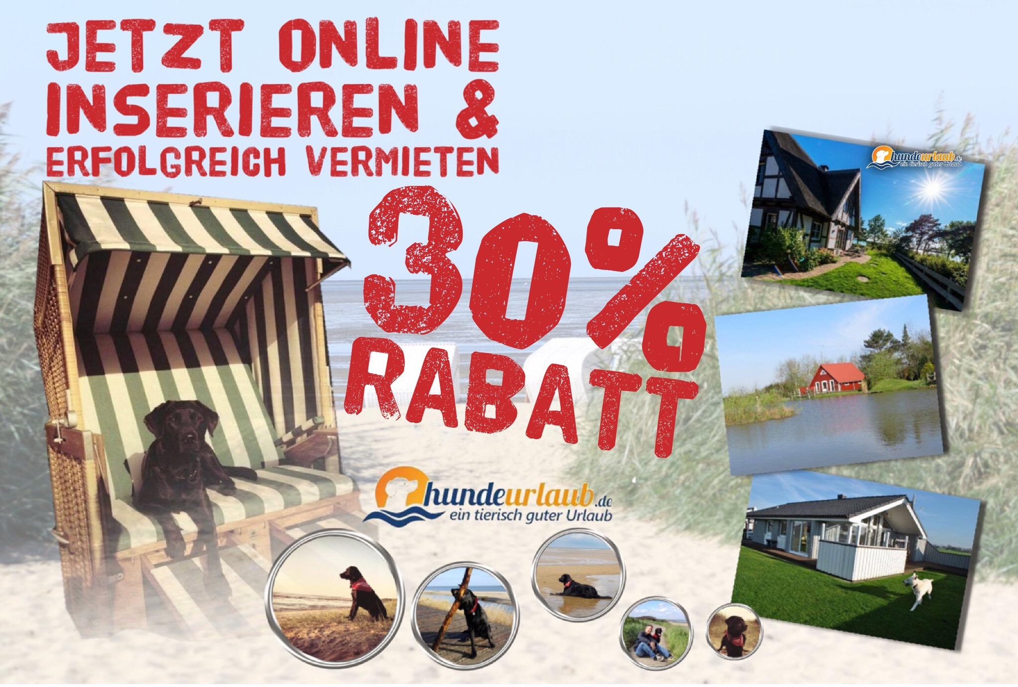 30% Rabatat für Vermieter auf hundeurlaub.de
